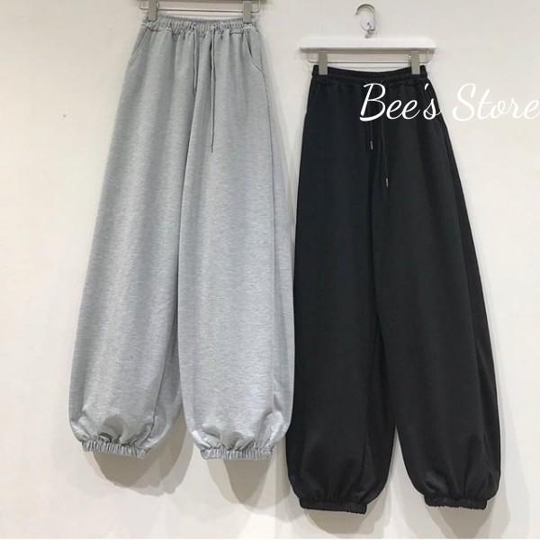 Quần jogger trơn bó ống chun 2 màu nam nữ hot trend_Bee's Store