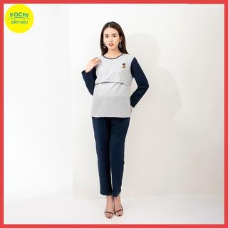 [Bộ Bầu Hot] Bộ Bầu Cotton Tím Than Phối Xám Vạch Ngực FOCHI – Thời Trang Bầu Happy Mom – BSA007
