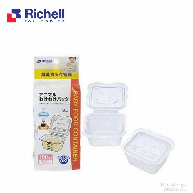 Bộ chia thức ăn trữ đông Richell hình mèo 100ml