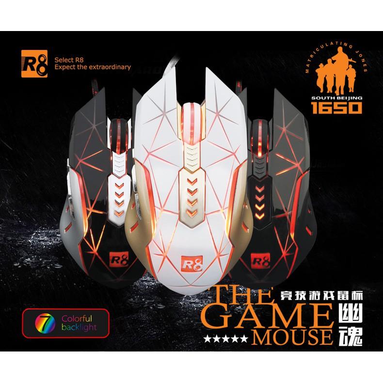 Chuột 7D chuyên game R8 1650 Led đa màu - đen @hoemeshopping24h@
