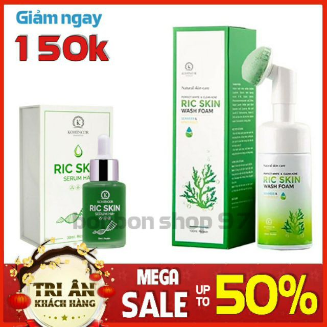 Combo Serum Ric Skin + Sữa rửa mặt Wash Foam KOHINOOR