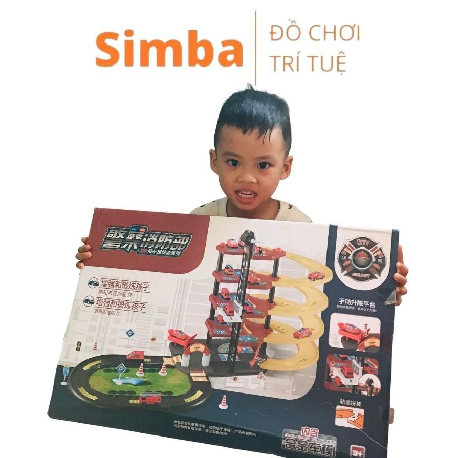 Mô hình nhà xe cứu hoả cảnh sát đồ chơi Simbaba lắp ráp mô hình nhà xe nhựa thông minh cho bé