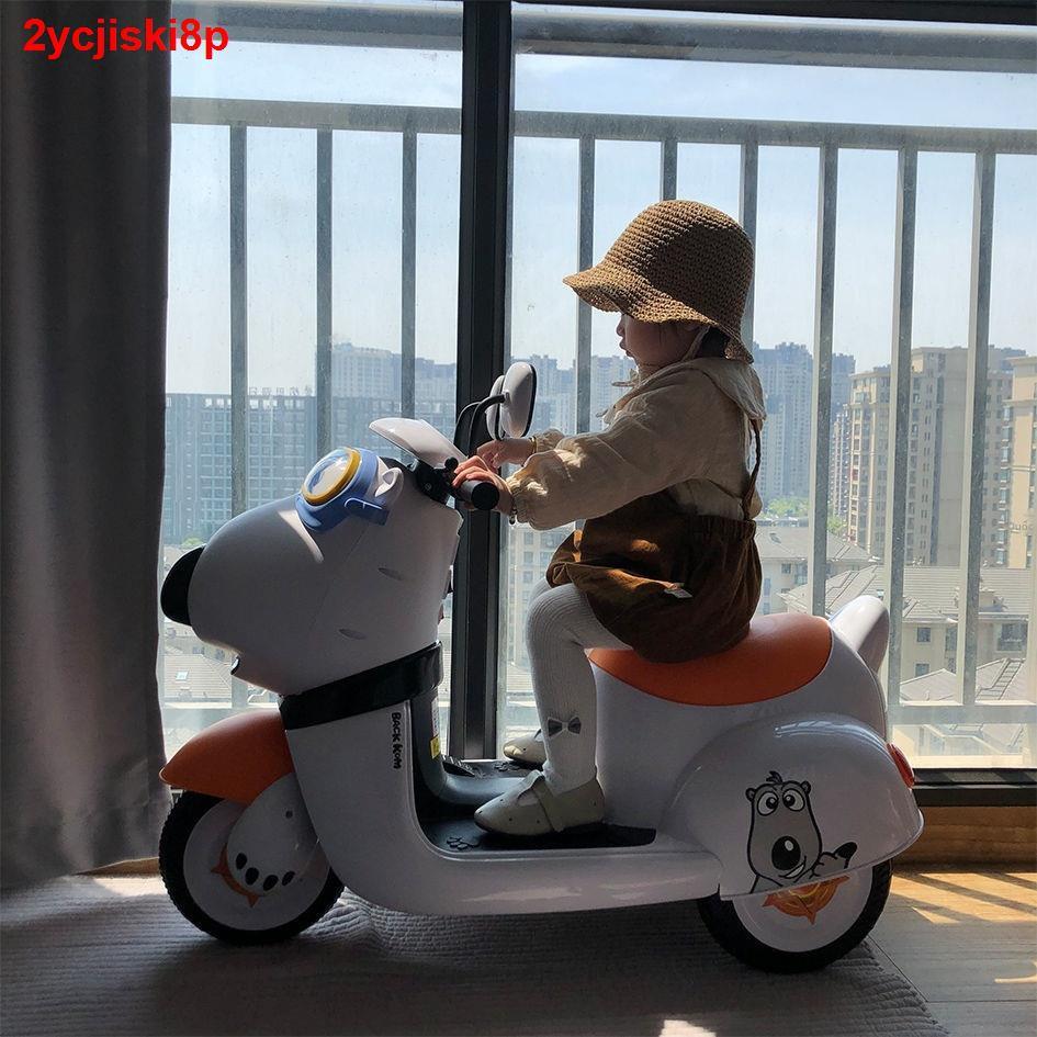 Bacon Bear Xe đạp điện trẻ em ba bánh máy Nam nữ Đồ chơi cho Có thể ngồi trên bộ sạc pin của Nhân dân