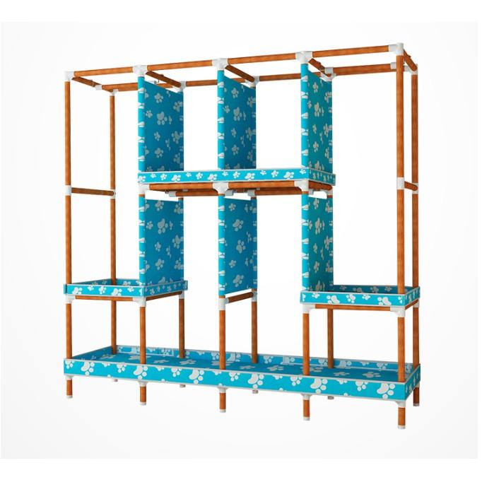 Tủ Quần Âó Vải Tủ Đựng Quần Áo Khung Gỗ 4 buồng 8 ngăn Vải gai cao cấp chuẩn loại 1 giao hàng 2 trong 2 giờ