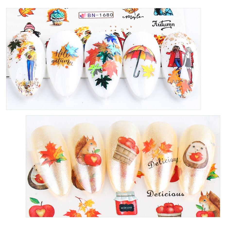 HAMA NAIL 12pcs Autumn Leaves Water Transfer Stickers Nails Art Yellow Maple Animal Decals Polish Slider DIY Decoration