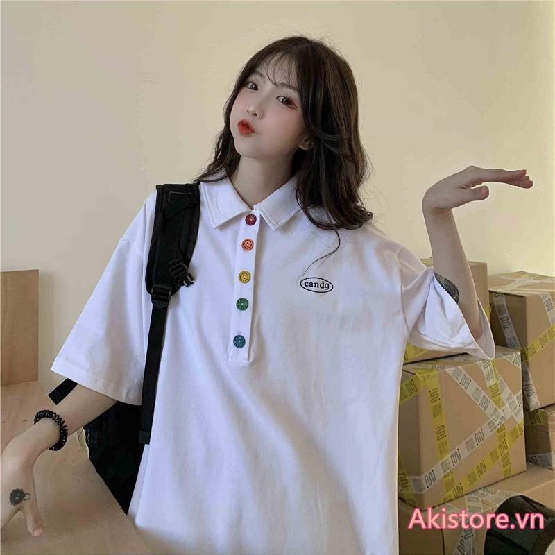 Áo polo Ngắn Tay Form Rộng áo thun có cổ nữ áo kiểu Phong Cách Hàn Quốc Đi Học Bigsize 2XL