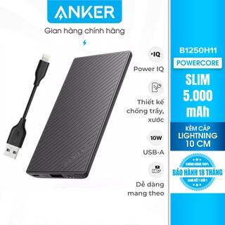 Pin sạc dự phòng ANKER PowerCore Slim 5000 kèm cáp Lightning dài 10cm - B1250H11 thumbnail