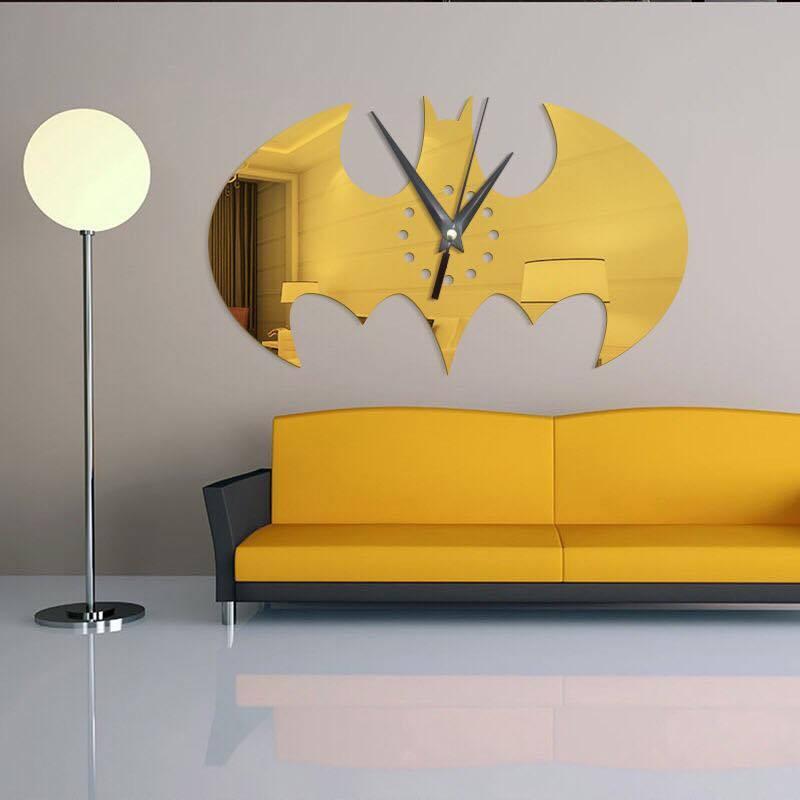 Đồng hồ dán tường DIY Người Dơi phong cách, ngộ nghĩnh, sáng tạo - Nhiều màu.