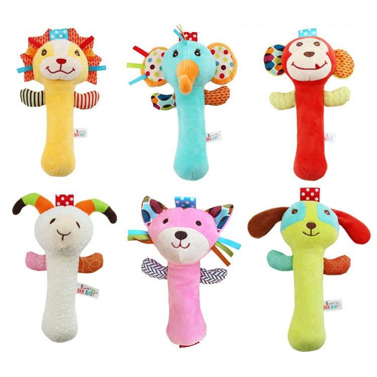 Newly Designed High Quality Newborn Plush Toy Animal Rattle Toy Animal Style Baby Toy BB Stick