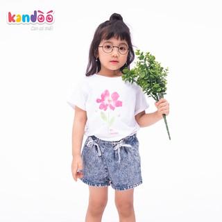 Áo T-shirt bé gái KANDOO màu trắng, chất liệu 100% cotton cao cấp mềm mịn, thoáng mát - Mã DG16TS05
