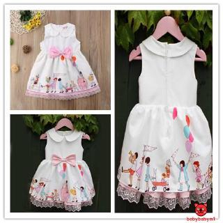 ♪~Adorable Infant Kid Girl Princess Floral Lace Bowknot Casual Party Dress Clothes