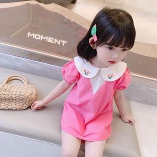 Váy Chữ A Cổ Hồng Thêu Hoa Cho Bé Gái Từ 8-18kg (QATE019)