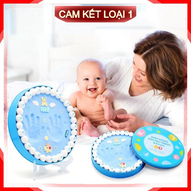 [Cam kết Loại 1] Bộ khung hộp in dấu vân chân tay chân cho bé sơ sinh lưu dữ kỷ niệm bằng đất sét .