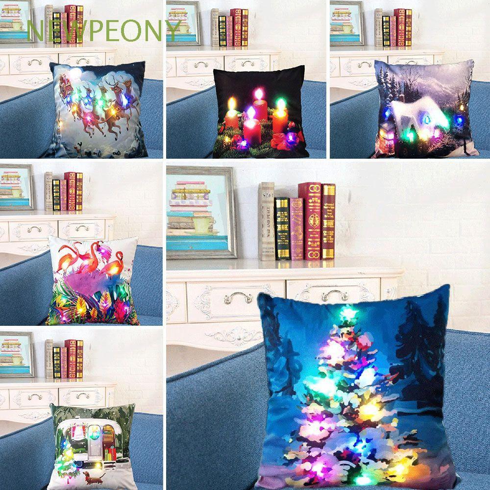 Vỏ gối cotton linen 45x45cm họa tiết Giáng sinh độc đáo