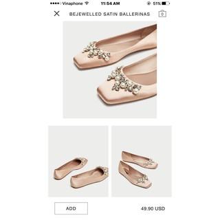 Giày búp bê zara ngọc trai