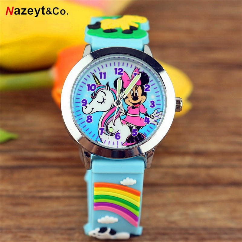 Boys and girls cute cartoon anime quartz watch Luminous pointer children 3D silicone jelly table