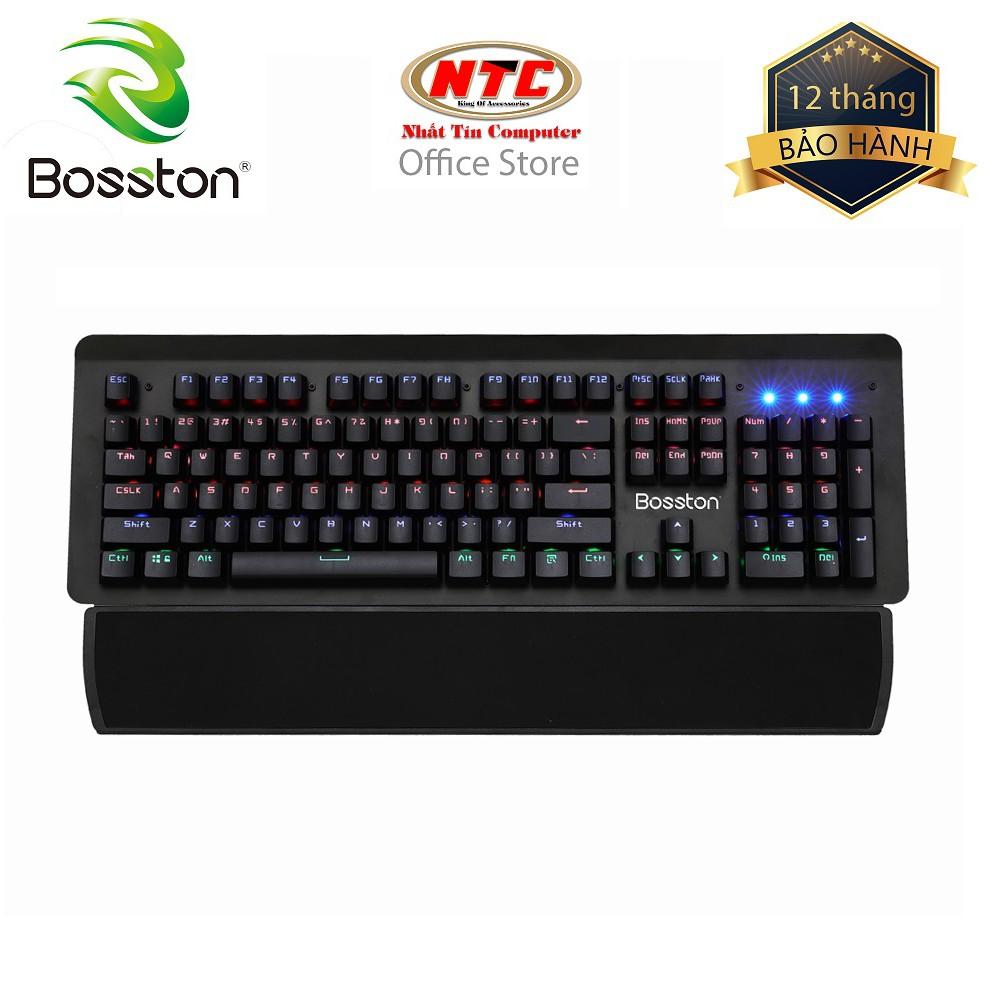 Bàn phím cơ chuyên game cao cấp Bosston MK919 - 10 kiểu đèn led + Tặng đế kê tay (Đen) - Hãng phân p