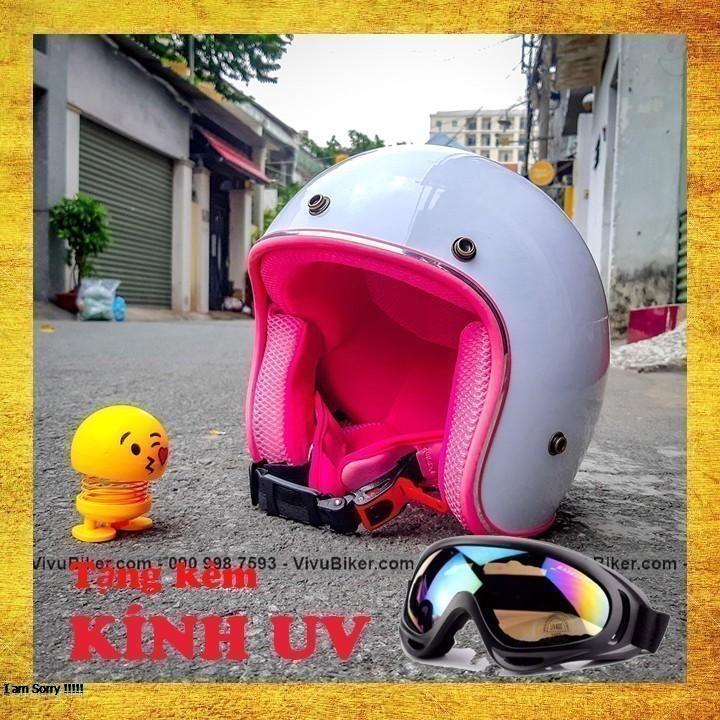 COMBO mũ bảo hiểm 3/4 trắng lót đỏ + kính uv gắn nón bảo hiểm - combo nón bảo hiểm 3/4 nhiều màu lựa chọn kèm kính