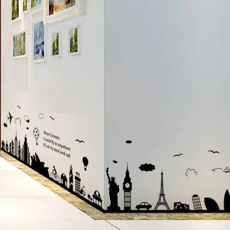Decal dán tường, tranh dán tường, tranh dán chân tường, tranh trang trí decor phòng nhiều mẫu lựa chọn - Mẫu 1