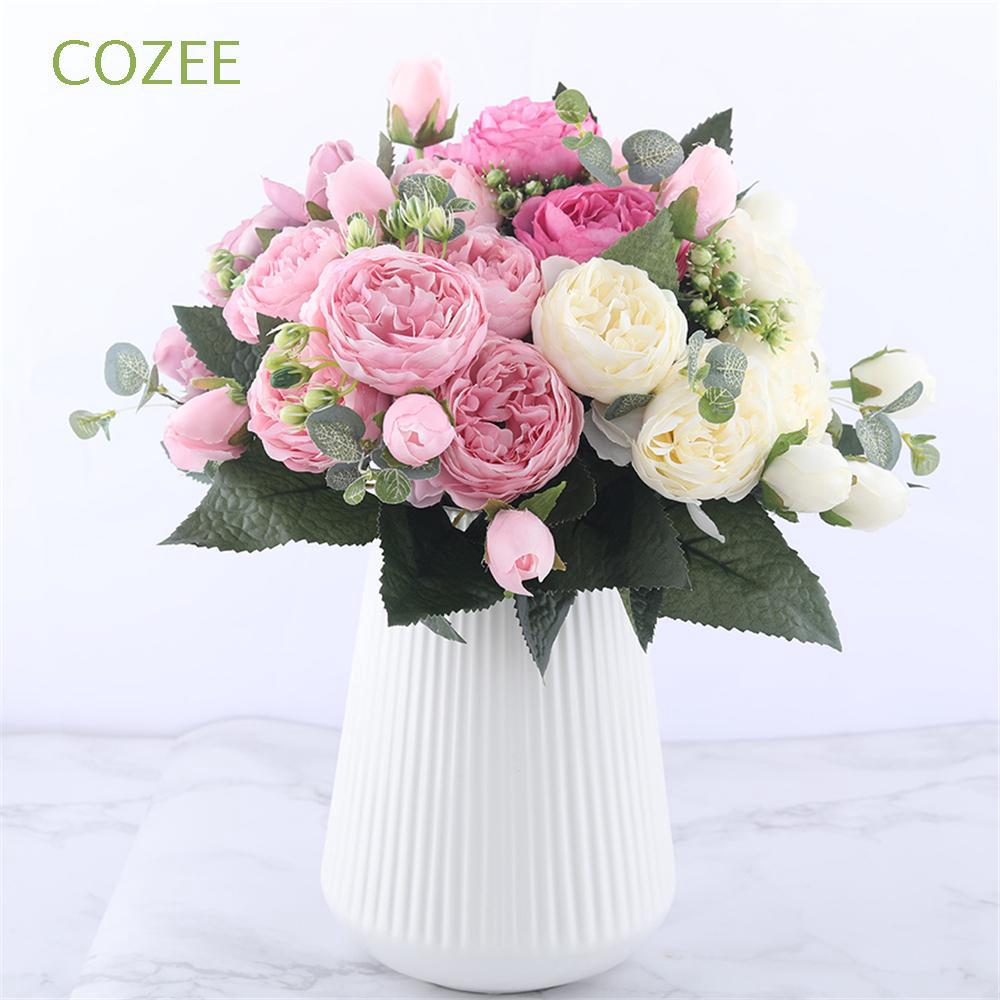 Bó hoa hồng lụa với 9 bông dài 30cm phong cách cổ điển
