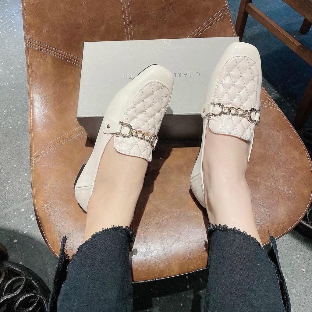 Giày mọi nữ phối quai xích mũi vuông trần chỉ siêu đẹp