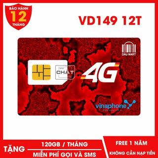 SIM 4G Vinaphone VD89 VD149 D60G 12T Tặng 120GB / Tháng Miễn Phí Nghe Gọi & SMS 12 Tháng Không Cần Nạp Tiền - Dâu Mart