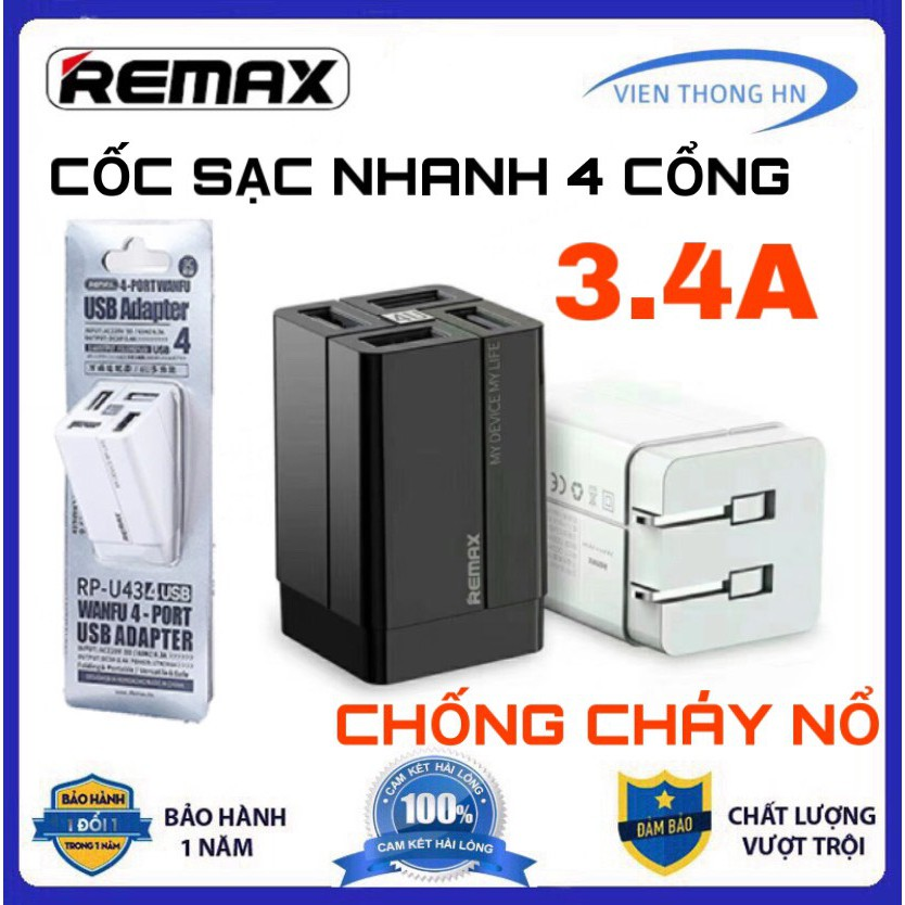 Cốc sạc Củ sạc REMAX RP-U43 nhanh 4 cổng CHỐNG CHÁY NỔ 3.4A - SẠC NHANH Quick Charge 3.4A