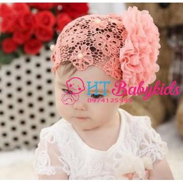 [ MẪU MỚI ] Băng đô lưới hoa cam cho bé gái sơ sinh