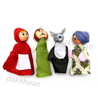 DK* 4pcs/set Little Red Riding Hood and Wolf Finger Puppet Telling Fairy Tale Props