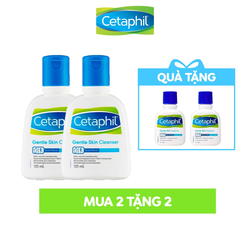 [Tặng 2 SRM 29ml] Combo 2 Sữa rửa mặt làm sạch dịu nhẹ Cetaphil Gentle Skin Cleanser 125ml