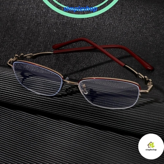 ❀SIMPLE❀ Anti-fatigue Presbyopic Eyeglasses Women Fashion Computer Goggles Anti Blue Light Reading Glasses Anti-UV Transparent Luxury Radiation Protection Metal Frame Eyewear