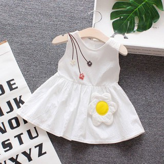 Đầm Không Tay In Hoa Dễ Thương Cho Bé Gái