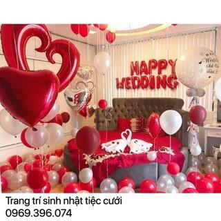 sét bóng trang trí phòng cưới tone màu đỏ