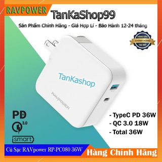 Củ Sạc Nhanh RAVPower RP-PC080 Power Delivery 36W , iSmart 2.0 , QC 3.0 18W