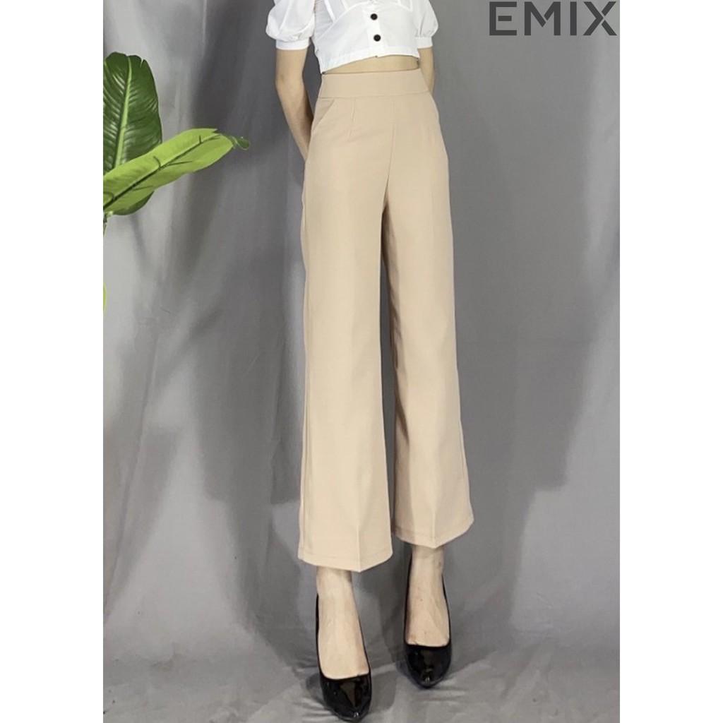 Mặc gì đẹp: Sang trọng với Quần tây nữ đi học ống sớ công sở EMIX (3 màu), dáng dài 100m, khóa sườn, cạp cao dài 100cm, vải tuyết mưa mềm mịn