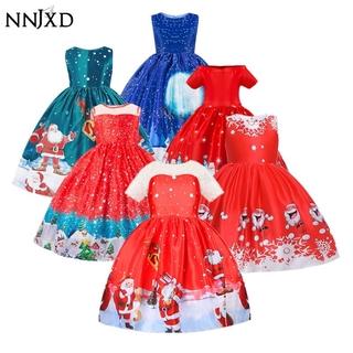 NNJXD Đầm công chúa họa tiết Giáng Sinh dành cho bé gái hóa trang Halloween/dự dạ tiệc