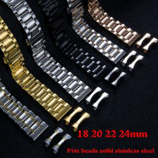 Famous Five beads Exploded Elbow Flat Head Universal Watchband Convenient Solid Stainless Steel strap 18 20 22 24mm