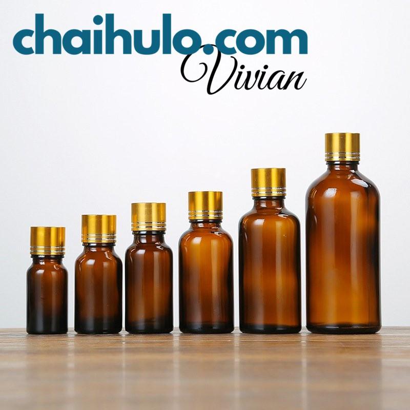 Chai lọ thủy tinh đựng tinh dầu, serum, dầu dừa thân nâu nắp vặn vàng nhỏ giọt