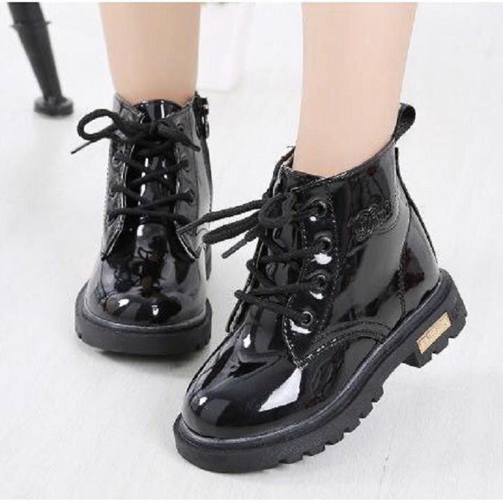 Giày boot cho bé gái cao cổ chất da bóng cực sang chảnh