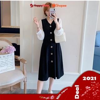[HÀNG CAO CẤP]💝Đầm bầu công sở váy bầu dáng dài màu đen, đầm bầu thu đông chất cotton V015 tay dài