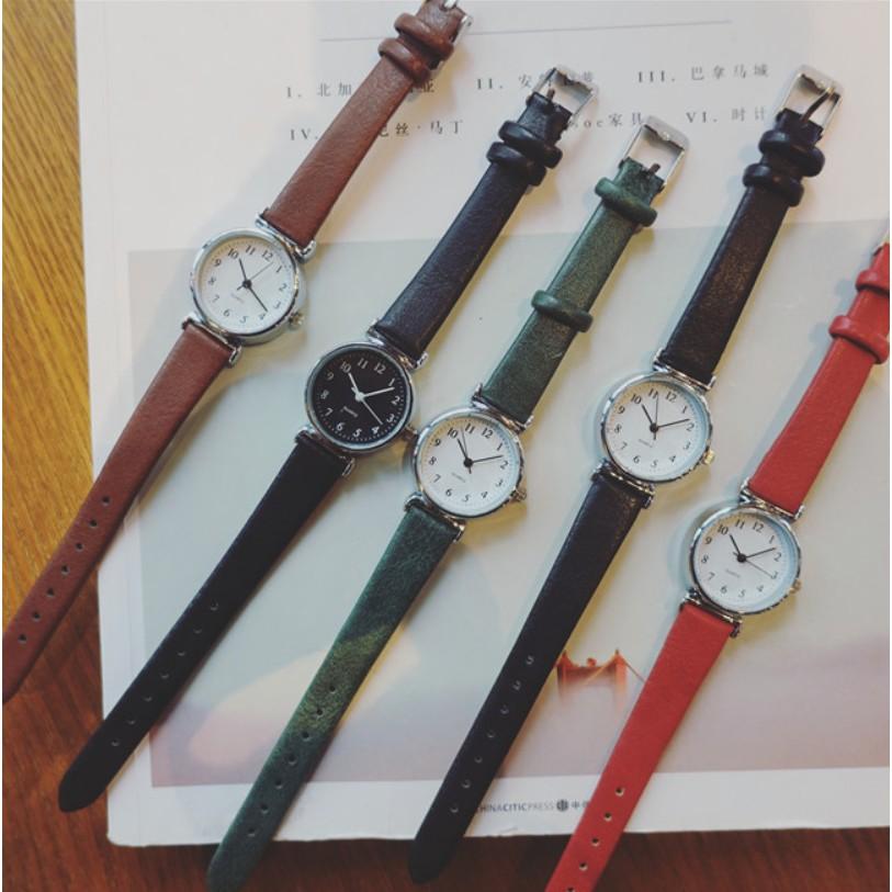Đồng hồ thời trang nữ dây da AKS05 mặt số dể dàng xem giờ, dây da mềm đeo êm tây, mặt nhỏ xinh xắn