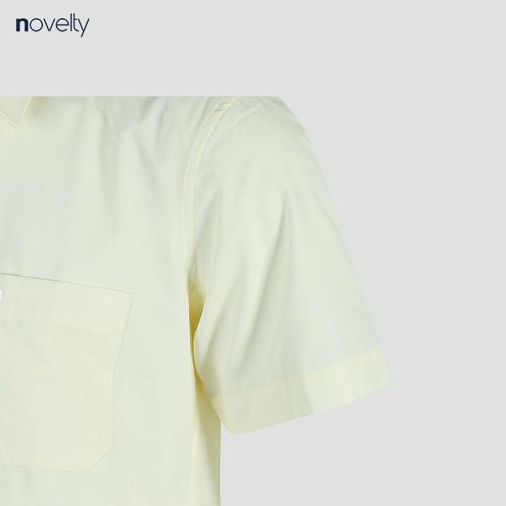Áo sơ mi nam Novelty ngắn tay trơn màu vàng nhạt NSMMMNMTCR191276N