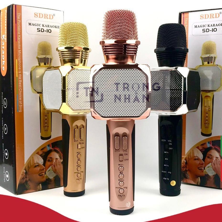 (Bảo hành 1 đổi 1) Micro karaoke bluetooth SD-10 Mic hát cầm tay loa không dây mini hát hay đa năng có ghi âm