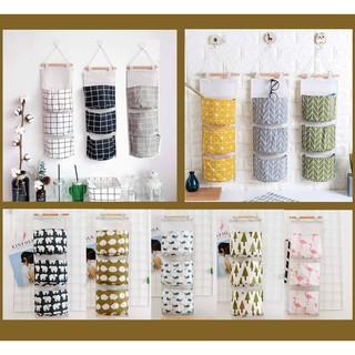 (15 mẫu) Giỏ vải treo tường, túi treo tường đa năng 3 ngăn