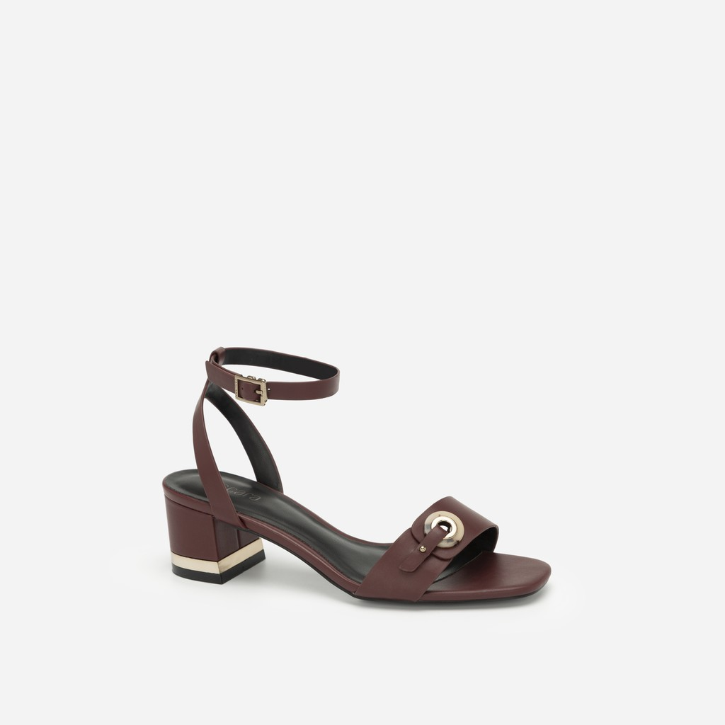Vascara - Giày Sandal Cao Gót Quai Cài Khuy Tròn Cẩm Thạch - SDN 0649 - Màu Đỏ Ā
