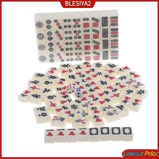 [BLESIYA2] Mini Mahjong Traditional Chinese Version Travel Game Set Portable 144 Tiles