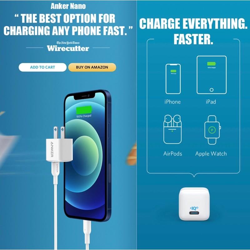 Củ sạc nhanh iPhone 12, iPad Pro, S10, S20, Note 10 ANKER POWERPORT III NaNo PIQ 3.0 20W - A2633