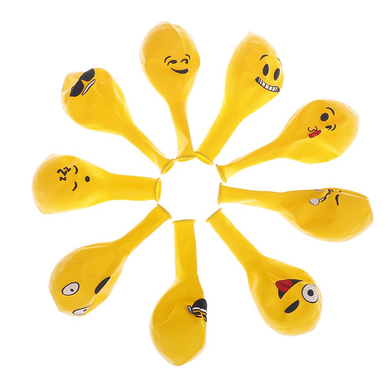 10PCs 12inch emoji balloons expression yellow latex balloons for party wed