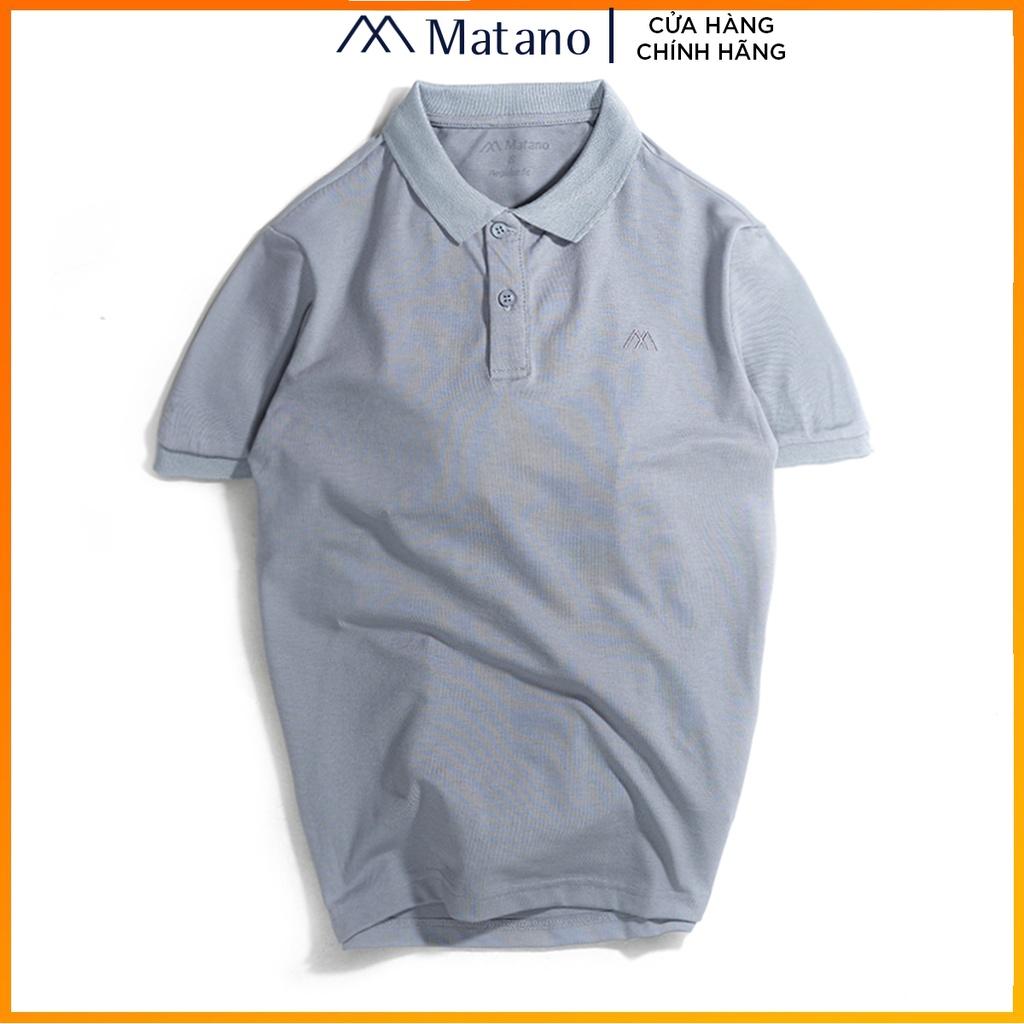 Áo polo nam xám trơn basic đẹp MATANO - Áo thun nam có cổ trụ bẻ, vải cá sấu cotton cao cấp chính hãng giá rẻ 023