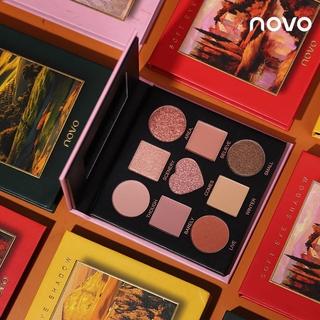 Phấn mắt NOVO Trang điểm Tranh sơn dầu Phong cảnh Bảng phấn mắt chín màu Màu
